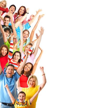 feste feiern: Happy komische Leute. Isolierte �ber wei�em Hintergrund