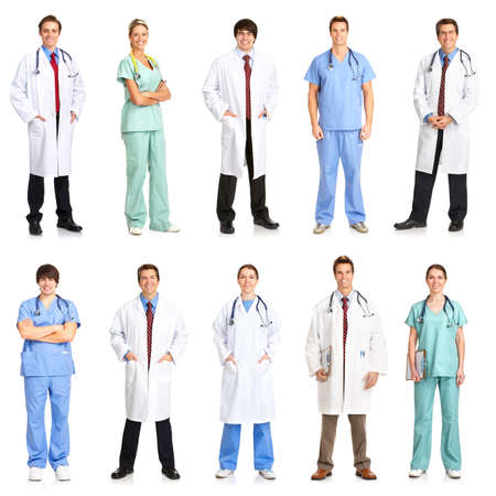 Smiling medical people with stethoscopes. Doctors and nurses over white background  Stock Photo