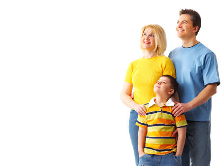 Happy family. Father, mother and boy over white background Stock Photo - 4365198