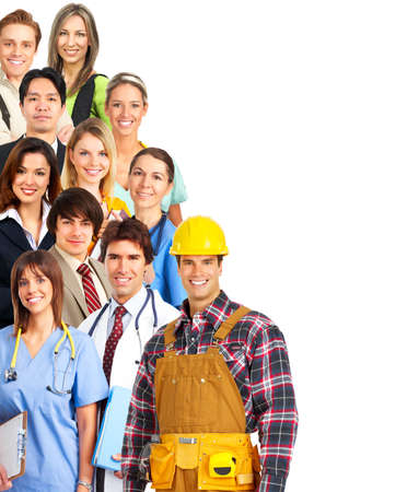 group of workers: Large group of smiling people. Over white background