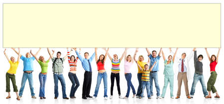 demonstrate: Happy funny people. Isolated over white background