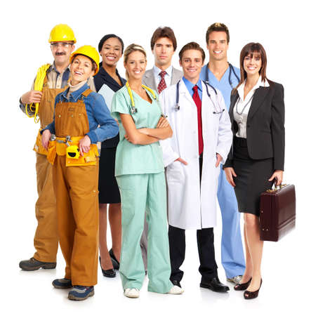 Business people, builders, nurses, doctors, architect. Isolated over white background  Stock Photo
