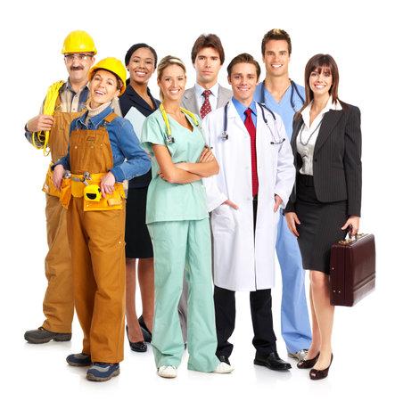 trabajadores: Empresarios, constructores, enfermeros, m�dicos, arquitectos. Aislado sobre fondo blanco Foto de archivo
