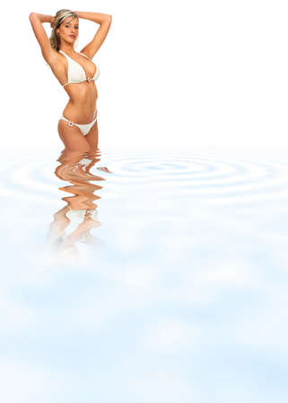 breech: Pretty sexy young woman in blue water. Over white background