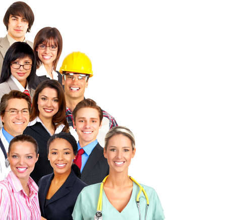 industry workers: Businessman, business women, builder, nurse, architect, student. Over white background