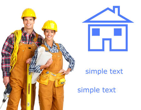 Young builder people  in yellow uniform. Isolated over white background Stock Photo - 4420620