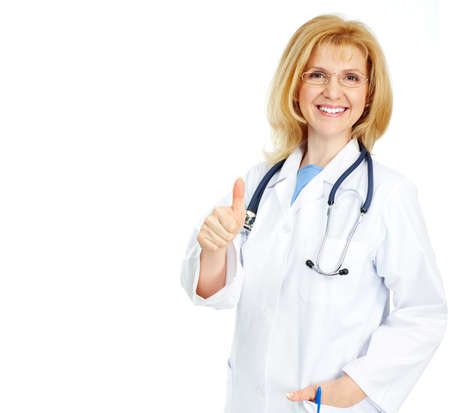 Smiling medical doctor with stethoscope. Isolated over white background Stock Photo - 4420619