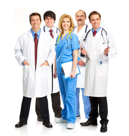 medical practice: Smiling medical people with stethoscopes. Doctors and nurses over white background  Stock Photo