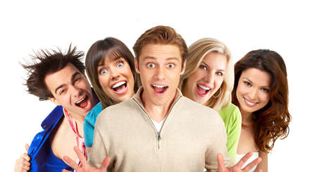 kidding: Young happy  people smiling. Over white background    Stock Photo