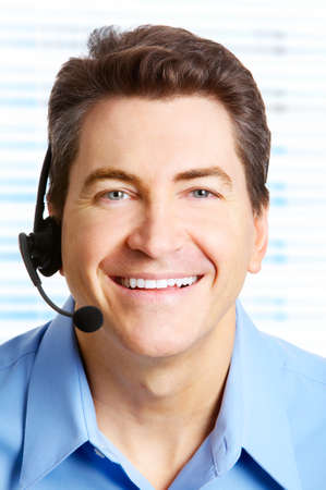 Smiling handsome businessman with headset.  Stock Photo - 4420616