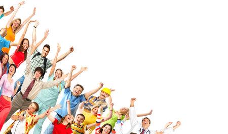 Feliz gracioso personas. Aislado sobre fondo blanco Foto de archivo - 4420617