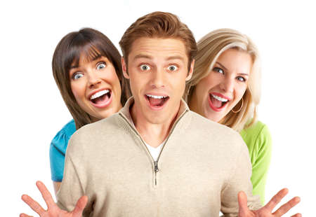 Young happy  people smiling. Over white background
