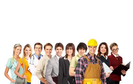 Businessman, business woman, builder, nurse, architect, student. Over white background  Stock Photo