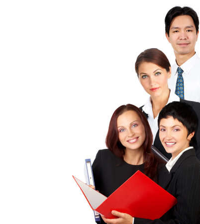 Happy business people . Isolated over white background Stock Photo - 4420591