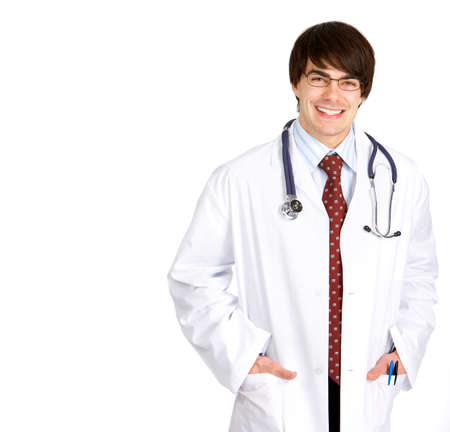 Smiling medical doctor with stethoscope. Isolated over white background Stock Photo - 4420599