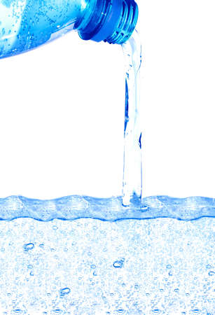 Blue water flowing from the bottle