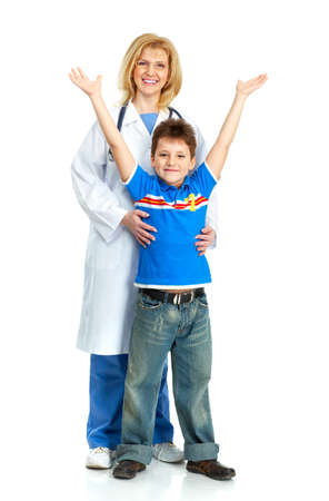 Smiling family medical doctor and a child. Over white background  photo