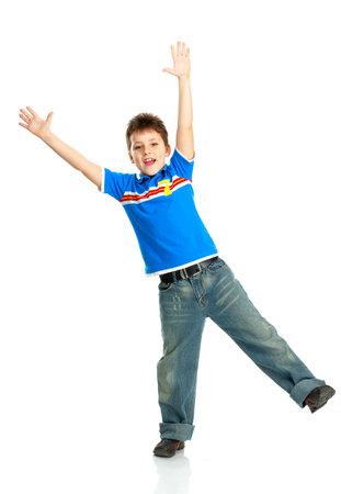 Funny happy boy. Isolated over white background Stock Photo - 4487414
