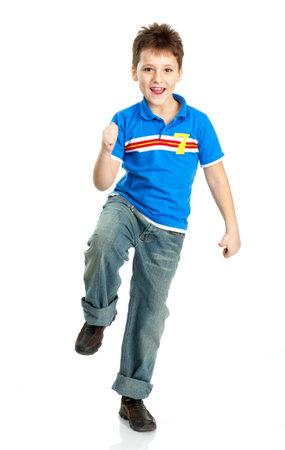 Funny happy boy. Isolated over white background  photo