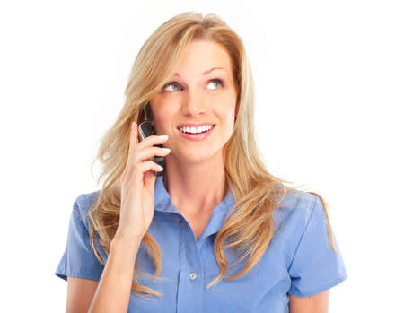 Young smiling woman calling by  phone. Over white background Stock Photo - 4487484