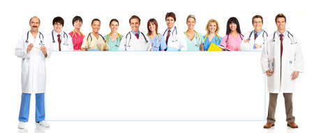 Smiling medical people with stethoscopes. Doctor and nurse over white background