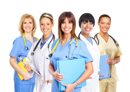 Smiling medical people with stethoscopes. Doctors and nurses over white background Stock Photo - 4487585