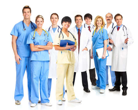 medical treatment: Smiling medical people with stethoscopes. Doctors and nurses over white background  Stock Photo