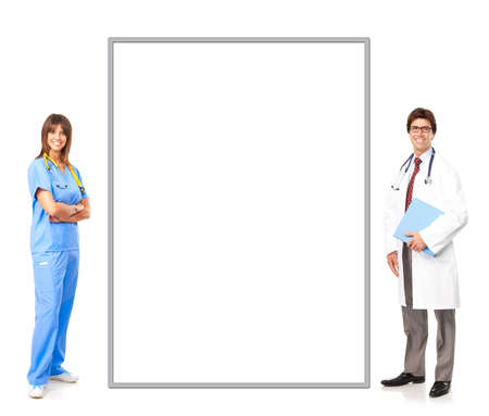 Smiling medical people with stethoscopes. Doctor and nurse over white background  photo