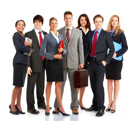 fondo de graduacion: Grupo de j�venes empresarios sonriente. M�s de fondo blanco