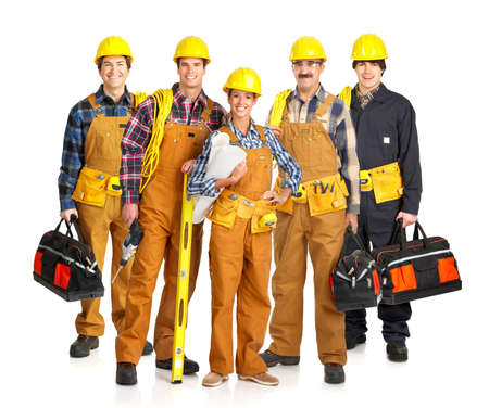 Builder people  in yellow uniform. Isolated over white background  photo
