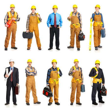Builder people  in yellow uniform. Isolated over white background