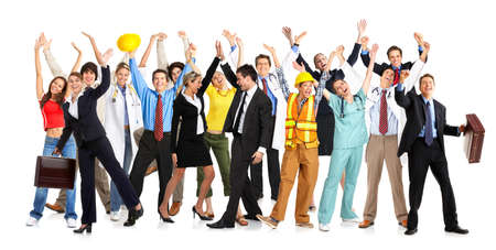 obreros trabajando: Empresarios, constructores, enfermeros, m�dicos, arquitectos. Aislado sobre fondo blanco Foto de archivo