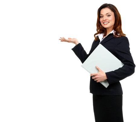 Happy succesvolle zakelijke vrouw. Geïsoleerde over witte achtergrond