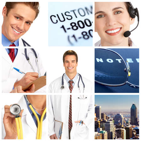 Smiling medical doctor with stethoscope.   photo