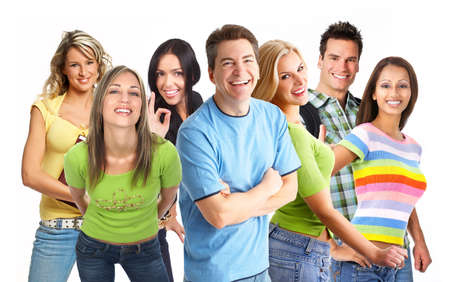 Happy funny people. Isolated over white background Stock Photo - 4541460