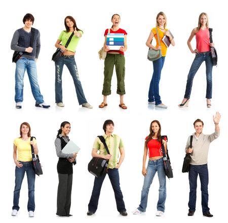 Grote groep van de jonge lachende studenten. Over witte achtergrond