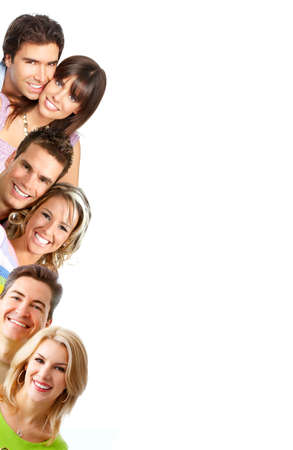 Young love people smiling. Over white background    photo
