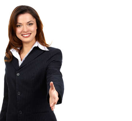 Friendly smiling businesswoman. Isolated over white background  photo