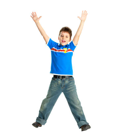 children  play: Funny happy boy. Isolated over white background