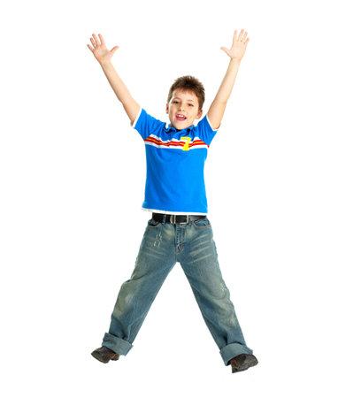 Funny happy jongen. Geïsoleerde over witte achtergrond Stockfoto