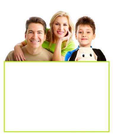 Happy family. Father, mother and boy over white background Stock Photo - 4621790