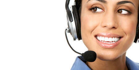 Beautiful  business woman with headset. Over white background Stock Photo - 4621740