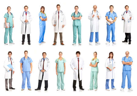 Smiling medical people with stethoscopes. Doctors and nurses over white background Banque d'images