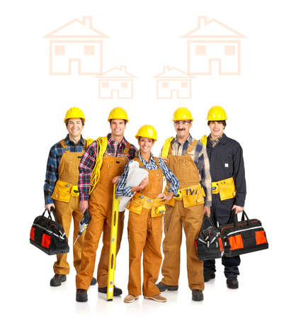 Builder people  in yellow uniform. Isolated over white background Stock Photo - 4621807