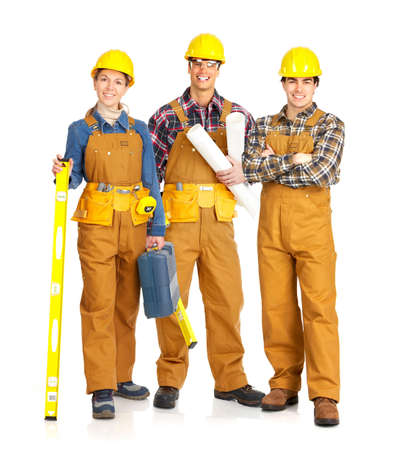 Builder people  in yellow uniform. Isolated over white background Stock Photo - 4621816