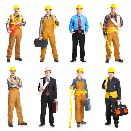 Builder people  in yellow uniform. Isolated over white background  Zdjęcie Seryjne