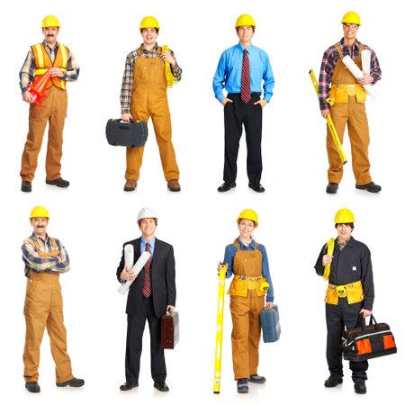 edificio industrial: Creador de la gente de color amarillo uniforme. Aislado sobre fondo blanco Foto de archivo