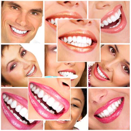Beautiful smiles and  teeth. Over  white background  photo