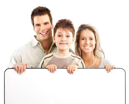 Happy family. Father, mother and boy. Over white background Stock Photo - 4668450