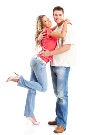 sexy young girls: Happy smiling couple in love. Over white background